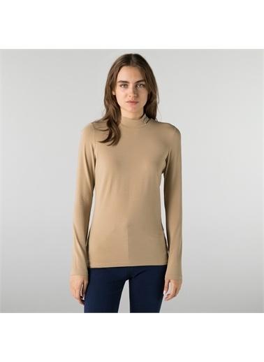 Lacoste Lacoste Kadın Slim Fit Uzun Kollu Boğazlı Yaka Bej T-Shirt Kahve